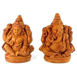 Lakshmi Ganesh Clay Idol - Small