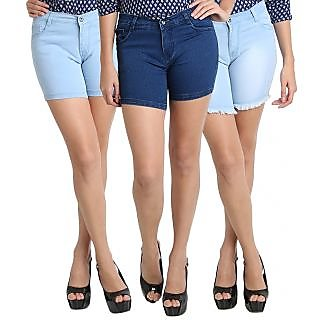 AVE Fashion Wear Denim Shorts For Girls - Pack Of 3