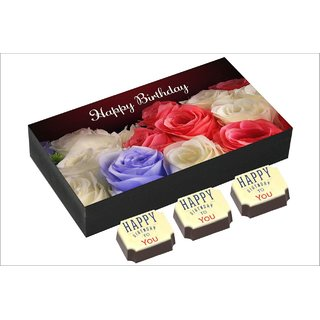 Chococraft- Rose Bouquet Box With Happy Birthday To You Candies -6Pcs Box