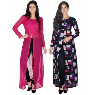 Sukuma Pink Self Design Net Stitched Kurti