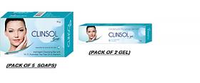 clinsol soaps  gel ( set of 5 pcs. soap  set of 2 pcs. gel)