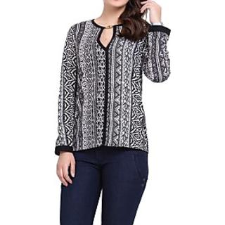 Casual Full Sleeve Geometric Print Womens White, Black Top