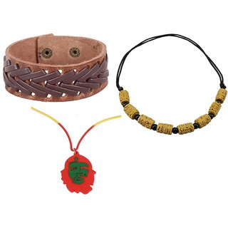 sushito Brown Leather Fashion Wrist Band Combo 2 Men Necklace JSMFHWB0696