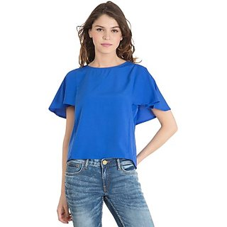 Casual Short Sleeve Printed Womens Blue Top