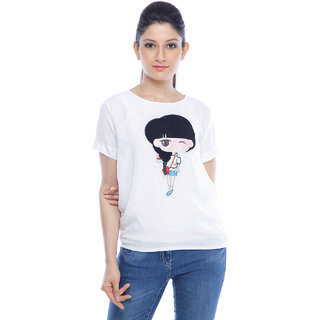 Designeez White Embroidered Patch Of Doll Cotton Top