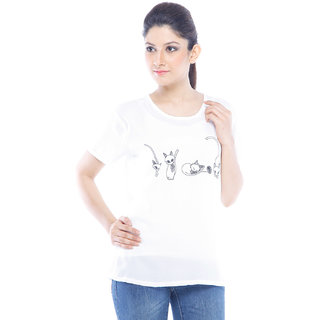 Designeez White Printed Cat Chiffon Top