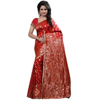 Ajira Red Banarasi Silk Self Design Saree With Blouse