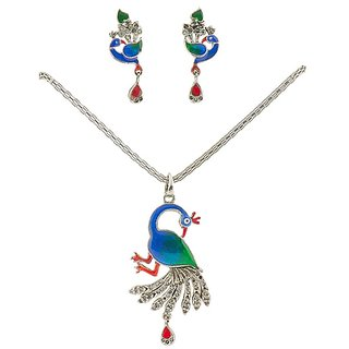 Peacock Pendant Set With Meena Work In Sterling Silver