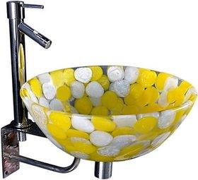 SRI SUDHARSAN FANCY ELECTRICALS   Lucky Aureolin SPB09 Table Top Basin(Aureolin) Multi Colour