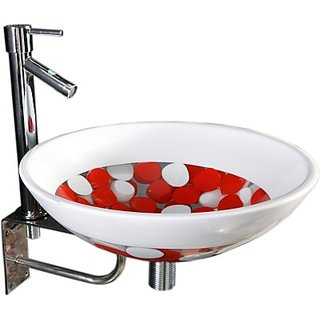 SRI SUDHARSAN FANCY ELECTRICALS   Lucky White - Red Stones SRP03 Table Top Basin(White - Red Stones)