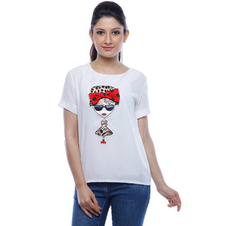Designeez White Embroidered Patch Of Doll  Bow Cotton Top