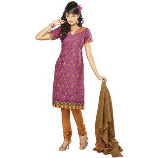 Suits Pink Cotton Anarkali Unstitched Dress Material