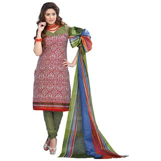 Suits Red Cotton Unstitched Dress Material