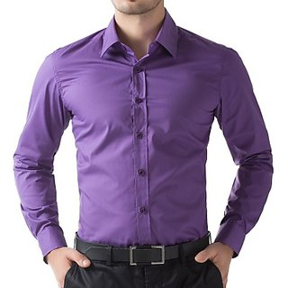 Being Fab Mens Solid Casual Purple Shirt