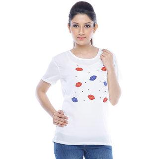 Designeez White Printed Pips Chiffon Top