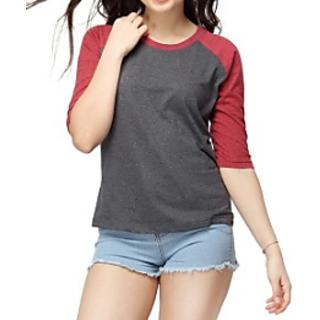 Casual 3/4 Sleeve Solid Womens Maroon Top