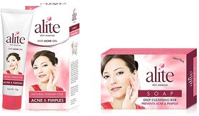 Leeford combo pack of alite anti acne soap and anti acne gel(set of 5 pcs. soap  2 pcs. gel)