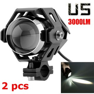 Bikers World U5 15w Projector Lens White Bike Motorcycle Hid Cree Led Driving Lights Daytime Fog Lamp Drl For Bajaj Avenger 220