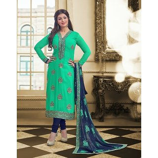 RapidDukan Un-Stitched Green Color Straight Bollywood Salwar Suit Dupatta Material SF638