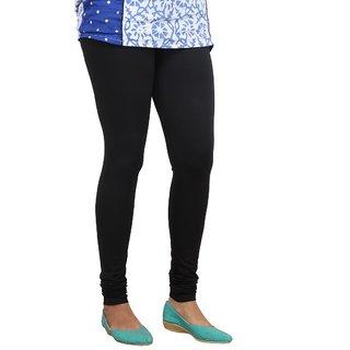 Fashionkala plain cotton lycra women leggings in black color