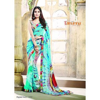 Tamanna Multicolor Velvet Printed Saree With Blouse