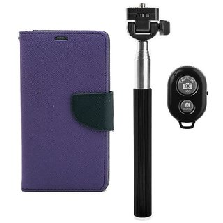 YGS Diary Wallet Case Cover  For Samsung Galaxy J7 (2016 Edition)-Purple With Extendable Selfie Stick and  Bluetooth Shutter Remote