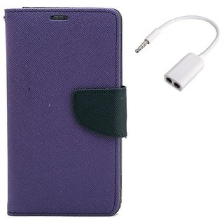 YGS Diary Wallet Case Cover  For Samsung Galaxy J7 (2016 Edition)-Purple With Audio Splitter