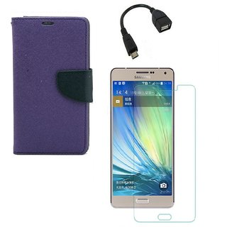 YGS Diary Wallet Case Cover  For Samsung Galaxy J7 (2016 Edition)-Purple With Tempered Glass With Micro OTG Cable
