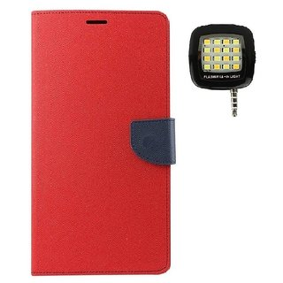 YGS Diary Wallet Case Cover  For Samsung Galaxy J7 (2016 Edition)-Red With Photo Enhancing Flash Light