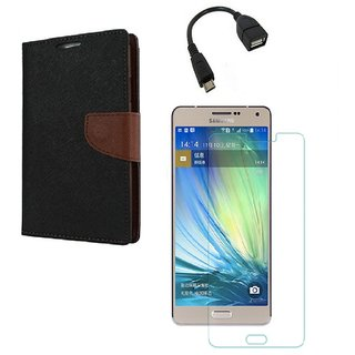 YGS Diary Wallet Case Cover  For Samsung Galaxy J7 (2016 Edition)-Brown With Tempered Glass With Micro OTG Cable