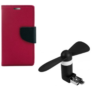 YGS Diary Wallet Case Cover  For Samsung Galaxy J7 (2016 Edition)-Pink With 2 in 1 Micro USB Fan