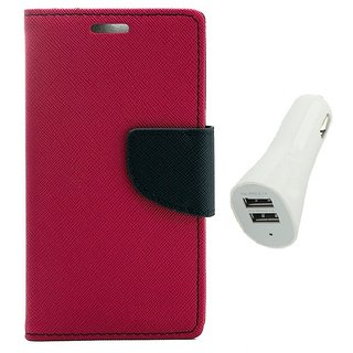 YGS Diary Wallet Case Cover  For Samsung Galaxy J7 (2016 Edition)-Pink With White Dual Port Car Charger
