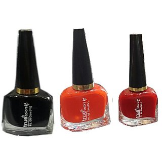 True Colors Combo of Red,Black and Orange Nail Paint/Color