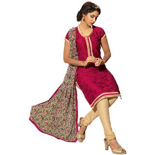 Shopeezo Maroon Colored Chanderi Embroidered Dress Material