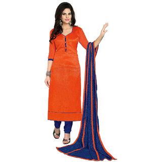 Shopeezo Orange Colored Bhagalpuri Plain Dress Material (Unstitched)