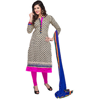 Shopeezo Black and Pink Colored Chanderi Printed Dress Material