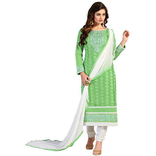 Shopeezo Pista Green Colored Chanderi Embroidered Dress Material