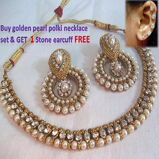 Golden Pearl Necklace Set with Free Kaan Ear Cuff