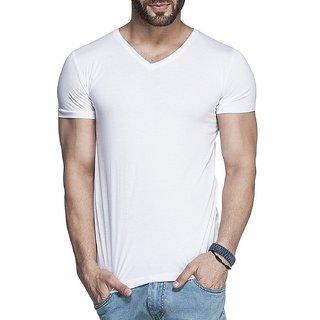 Mens Solid V-Neck Half Sleeve T-Shirt