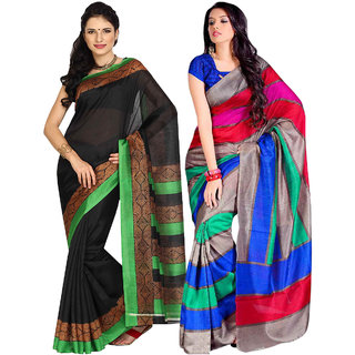 Parchayee Black,Multi Art Silk Printed Saree (Pack of 2)