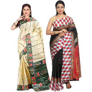 Parchayee Beige,Black Art Silk Printed Saree (Combo of 2)
