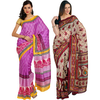 Parchayee Red,Purple Art Silk Printed Saree (Combo of 2)