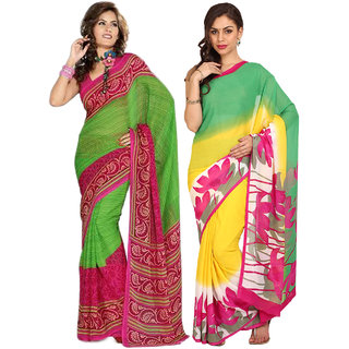 Parchayee Yellow,Green Chiffon,Georgette Printed Saree (Pack of 2)