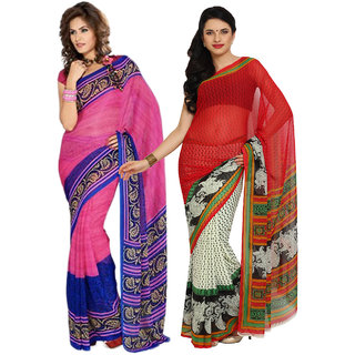 Parchayee Red,Pink Chiffon,Georgette Printed Saree (Combo of 2)