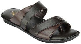 Khadims Lazard Brown Black Slip-on Mens Sandals