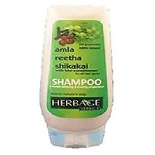 Herbage Herbal Amla, Reetha Shikakai Shampoo, Green, 200 Ml