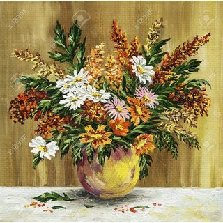 Beautiful Clay Flowers On Canvas