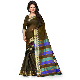 Ajira Black Polycotton Self Design Saree With Blouse