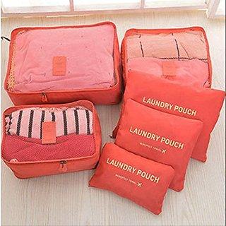 Urban Living 6pcs/1set Travel Storage Bag Storage Clothes Bag Luggage Case Bag - Orange
