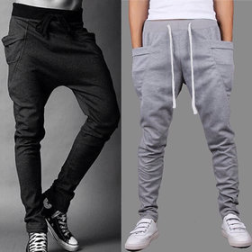 ToYouth Men's Black & Grey Cotton Blend Trackpants Combo of 2